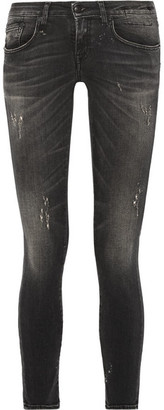 R 13 Kate Distressed Low-rise Skinny Jeans - Charcoal