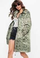 Missguided Khaki Jacquard Camo Parka Jacket