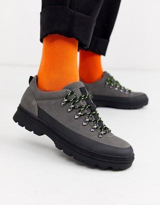 ASOS DESIGN hiker shoe in grey faux suede with black sole