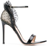 Gianvito Rossi heeled tulle detail sandals