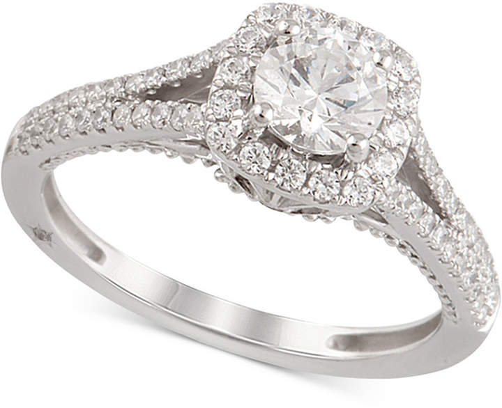 Marchesa Certified Diamond Engagement Ring (1-1/4 ct. t.w.) in 18k White Gold, Created for Macy's