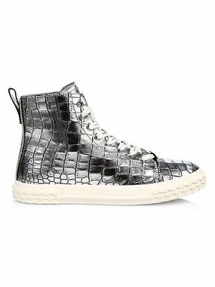Giuseppe Zanotti Braky Print Argento Metallic Crocodile-Embossed Leather High-Top Sneakers