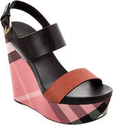 Burberry House Check, Leather & Calf Suede Platform Wedge