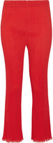 By Malene Birger Ralano Cropped Plissé-crepe Straight-leg Pants - Papaya