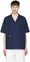 Sunnei Navy Open Collar Shirt