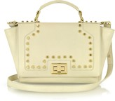 Leonardo Delfuoco Studded Beige Leather iPad Bag