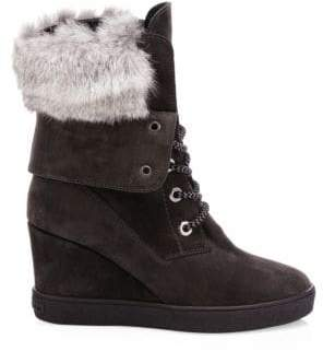 Aquatalia Women's Cordelia Fur-Trim& Shearling-Lined Suede Platform Wedge Boots - Grey - Size 8.5