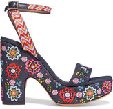 Tabitha Simmons Calla Festival Embroidered Denim Sandals - Dark denim