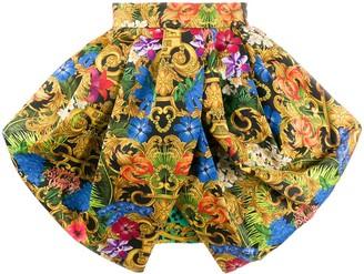 Versace Ruffled Baroque Print Skirt