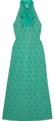 M Missoni Pussy-bow Metallic Crochet-knit Maxi Dress