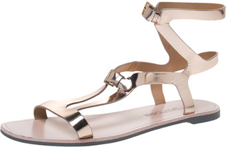 Sergio Rossi Rose Gold Leather Ankle Strap Flat Sandals Size 39.5