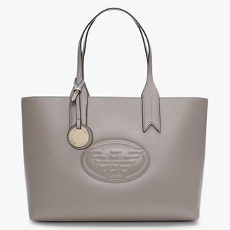 Emporio Armani Taupe Textured Logo Shopper Bag