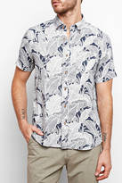 Tailor Vintage Leaf Print Short Sleeve Woven Button Down Shirt