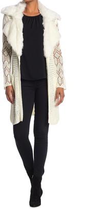 Vertigo Faux Fur Collar Open Front Sweater