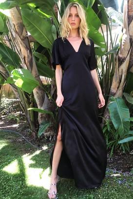 Nasty Gal Womens I Want Slit All Satin Maxi Dress - Black - 8
