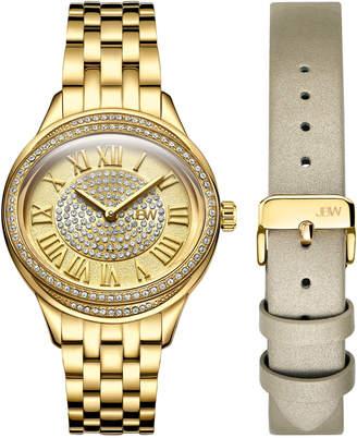 JBW J6366-SetB Gold-Tone Plaza Diamond Watch & Band Set