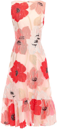 Lela Rose Ruffle-trimmed Fil Coupe Organza Midi Dress