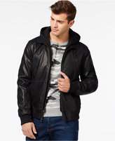 GUESS Faux-Leather Mixed Media Bomber with Removable Hood and Bib