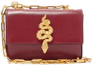 Valentino Maison Snake Leather Shoulder Bag - Burgundy