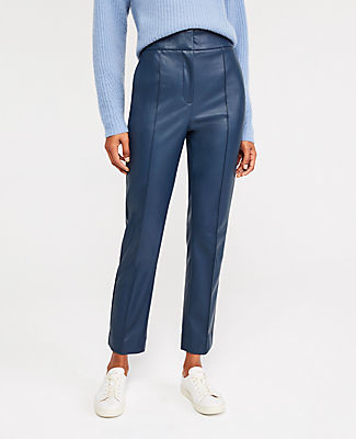 Ann Taylor The Faux Leather Super High Rise Ankle Pant