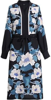 Smart and Joy Flower Print Midi Kimono-Dress