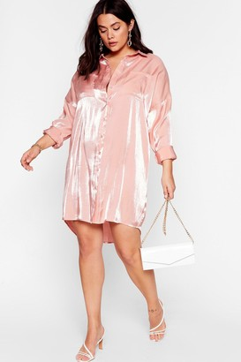 Nasty Gal Womens Shine On Tonight Plus Shirt Dress - Pink