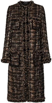 Dolce & Gabbana Boucle Tweed Mid-Length Coat