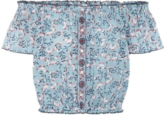 Poupette St Barth Amora floral cotton crop top