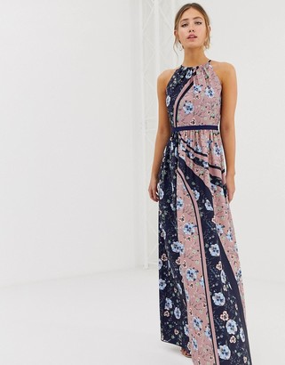 Little Mistress high neck floral scarf print maxi dress in multi