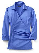 Classic Women's Regular 3/4 Sleeve Wrap Stretch Shirt-Purple Snow Heather Tapestry