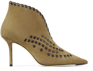 Jimmy Choo SAVI 85 Khaki Suede Ankle Boots with Black Nappa Leather Whipstitching