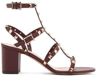 Valentino Rockstud Block Heel Leather Sandals - Womens - Burgundy
