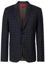 Hugo Boss Arelto Slim Fit, Wool Plaid Sport Coat 38R Open Green
