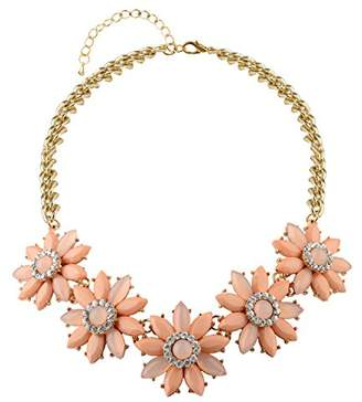 Front Row Gold Colour and Coral Colour Crystal Flower Necklace of Length 54cm