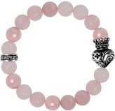 King Baby Studio Sterling Silver Rose Quartz Beaded Crowned Heart Stretch Bracelet