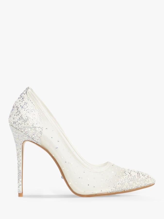 Dune Bridal Collection Brilliantes Crystal Embellished Court Shoes, Ivory