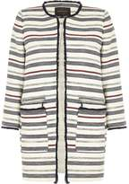 River Island Womens Navy blue striped trophy coat