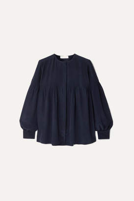 Chloé Pintucked Silk Blouse - Navy