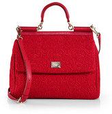 Dolce & Gabbana Sicily Red Lace Satchel