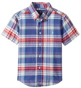Polo Ralph Lauren Yarn-Dyed Madras Short Sleeve Button Down Top Boy's Short Sleeve Button Up