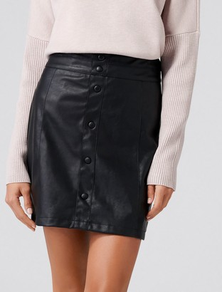 Forever New Willow Button-Down Leatherette Mini Skirt - Black - 16