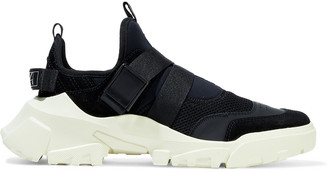 McQ Orbyt Clip Neoprene, Mesh, Leather And Suede Slip-on Sneakers