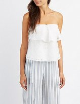 Charlotte Russe Tie-Back Lace Strapless Top