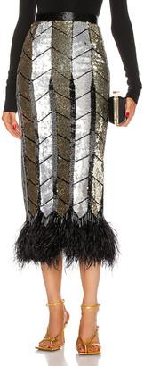 ATTICO Ostrich Feather Pencil Skirt in Black, Gold & Silver | FWRD