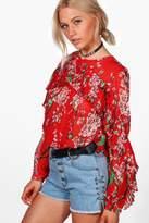 boohoo Alice Ruffle Sleeve Floral Blouse multi