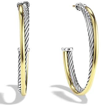 David Yurman Crossover Extra-Large Hoop Earrings with Gold