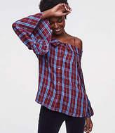 LOFT Petite Plaid Off The Shoulder Button Down Shirt