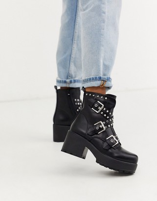 Koi Footwear vegan studded chunky ankle boots in black