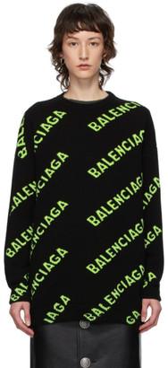 Balenciaga Black and Green All Over Logo Sweater