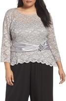 Alex Evenings Plus Size Women's Ruched Waist Lace Blouse